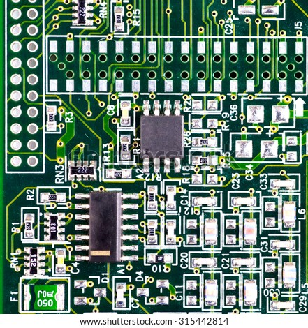 macro photo of electronic circuit. symbol of technology. Close up - stock photo