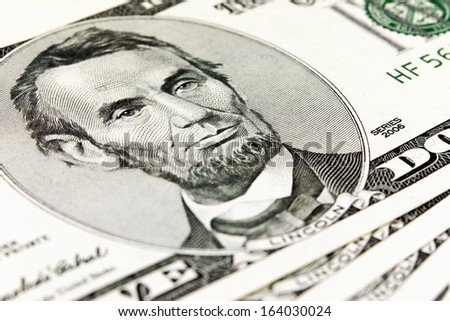 Macro photo of five dollar