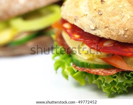 Macro photo of healthy sandwiches on white background - stock photo