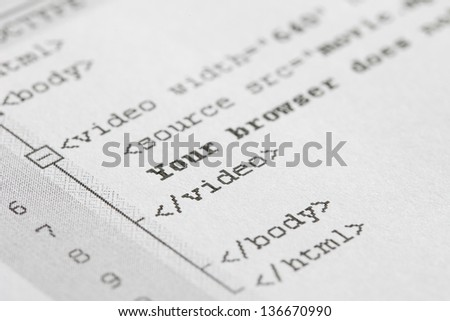 Macro Photo Of New Generation Html Code. Video Tag Is One Of The Main Advantage Of Html5. - stock photo