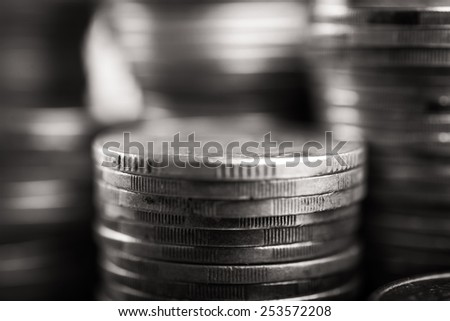 Macro photo of stack coins on background