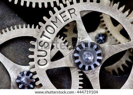 Macro photo of tooth wheel mechanism with CUSTOMER concept letters - stock photo