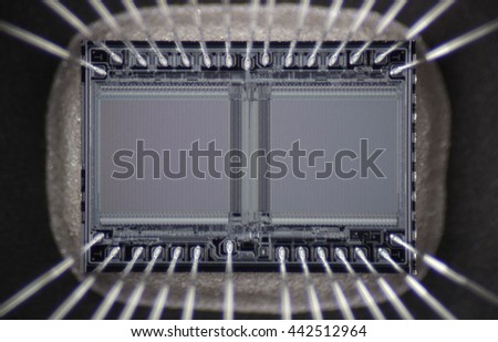 macro photo of ultraviolet memory array with the contacts - stock photo