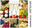 Macro photographs of a fresh food montage salad fruits pasta and cheese with champagne - stock photo