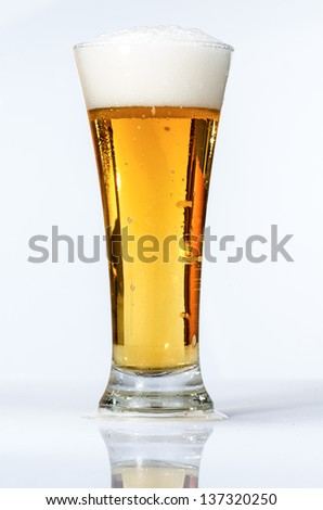 macro photography of beer on white background - stock photo