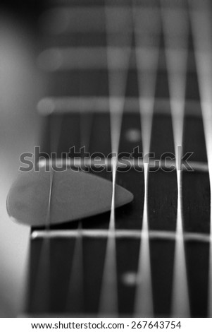 Macro Picture of Guitar Part - stock photo