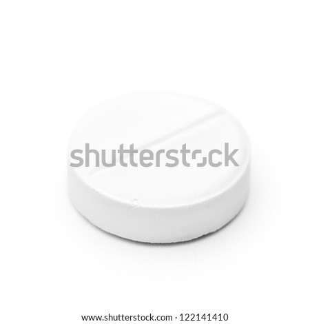 Macro picture of medicine pill isolated on white background with soft shadow. Focus on the front edge. - stock photo