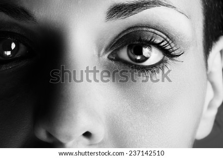 Macro picture of the eye of a woman. Black and white photography. - stock photo