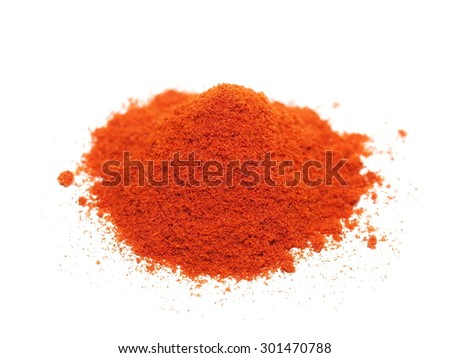 macro pile ground paprika isolated on white background