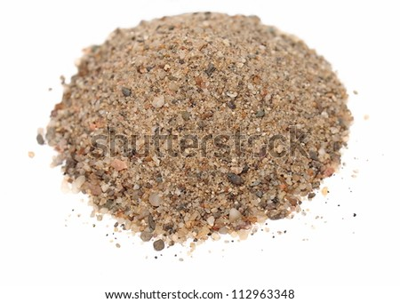 Macro pile sand isolated on white backgrounds ( river sand ) - stock photo