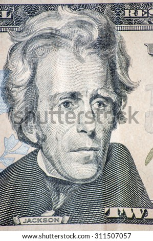 Macro portrait of Jackson on the US twenty dollar bill