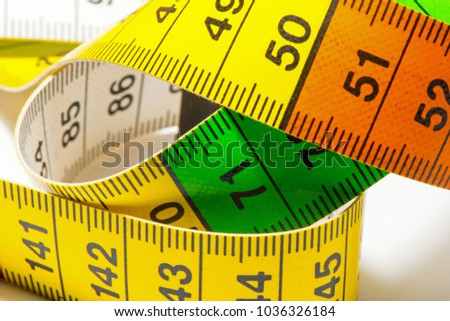 Macro recording of a measuring tape that is used by people who make their own clothes
