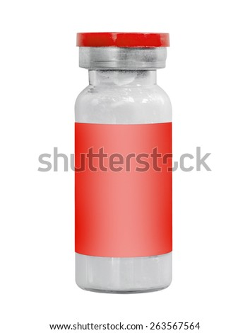 Macro red medicine injection vials isolated on white - stock photo