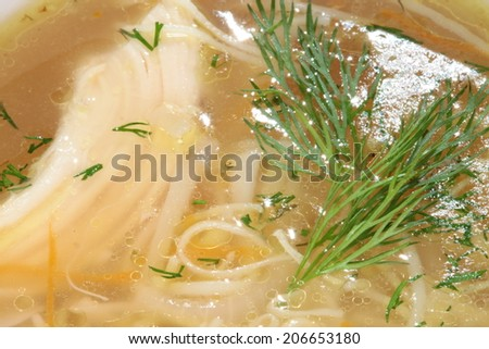 macro richness tasty chicken noodle with dill in white plate - stock photo