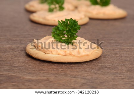 macro salmon pate on cracker - stock photo