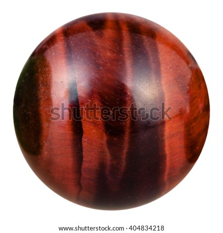 macro shooting of ball from bull's eye (red tigers eye, dragon's eye, ox's eye) natural mineral gemstone isolated on white background - stock photo