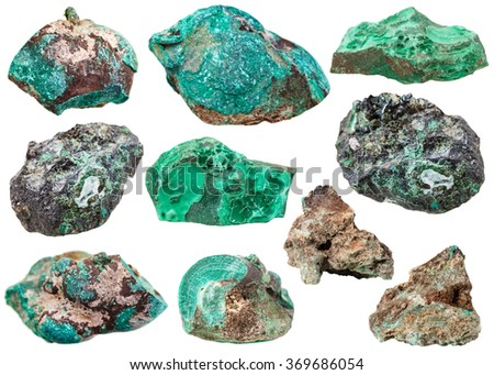 macro shooting of collection natural rock - various malachite mineral gem stones isolated on white background