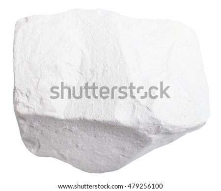 macro shooting of mineral resources - specimen of Chalk rock isolated on white background