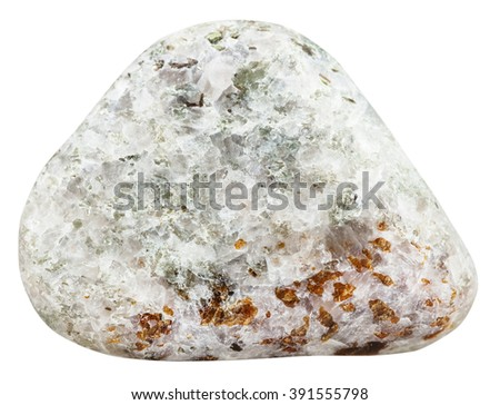 macro shooting of natural gemstone - tumbled Chondrodite mineral gem stone isolated on white background