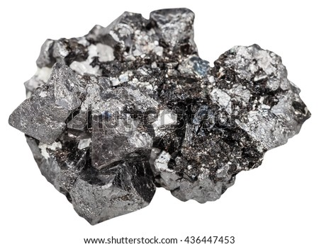 macro shooting of natural rock - druse of big crystals of magnetite mineral stone (iron ore) isolated on white background