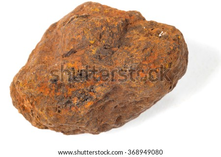macro shooting of specimen natural rock - specimen of hematite (haematite, iron ore) mineral stone isolated on white background