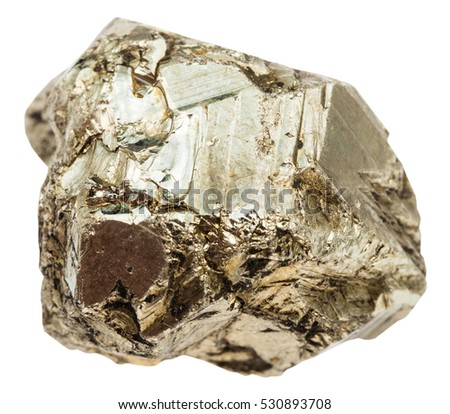 macro shooting of specimen of natural mineral - pebble of pyrite (iron pyrite, fool's gold) stone isolated on white background