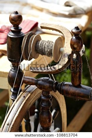 Macro shot detail of the vintage weaving loom - stock photo