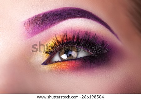 macro shot of a beautiful female eye makeup