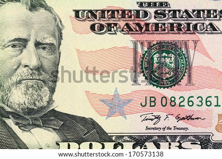 Macro shot of a 50 dollar. Portrait of Ulysses S. Grant as depicted on the bill - stock photo
