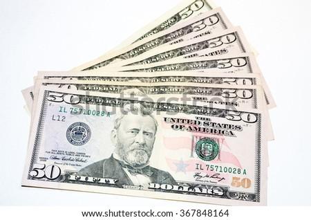 Macro shot of a 50 dollars - stock photo