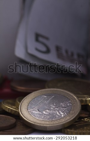 Macro shot of a large quantity of  euro coins - stock photo