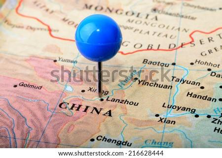 Macro shot of a map of China - stock photo