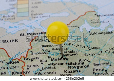 Macro shot of a map showing the city of Moscow in Russia - stock photo