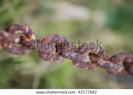 Macro shot of a rusty anchor chain