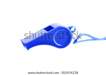 Macro shot of a whistle isolated on a white background