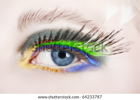 macro shot of an eye with long false feather lashes and bright fashion make-up - stock photo