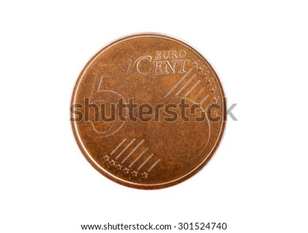 Macro shot of an old used five cents Euro coin isolated on white - stock photo