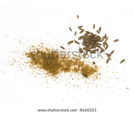 Macro shot of cumin seeds and ground cumin. One in a current series of 6 multi-form spice macros. - stock photo