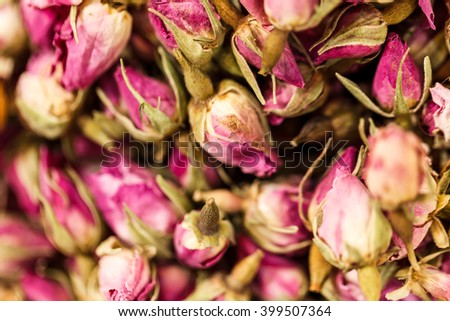 Macro shot of dried roses as captured in Dubai's Spice Souq. - stock photo
