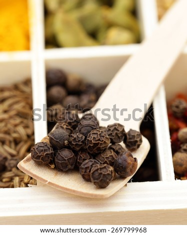 Macro shot of fragrant spices for seasoning food - stock photo