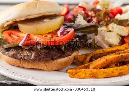 Macro shot of freshly grilled hamburger with cheddar cheese, organic tomatoes and lettuce, red onion, dill pickle and toasted bun with homemade oven baked sweet potato fries with an organic salad - stock photo