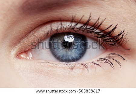 Macro shot of human eye and eyelid with red veins. Concept of eye disease, surgery and correction.