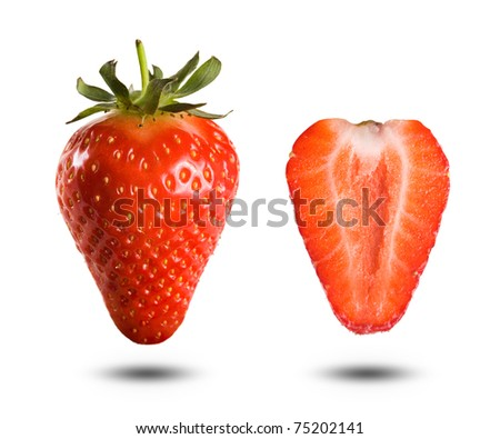 Macro shot of juicy fresh strawberries isolated on white. - stock photo