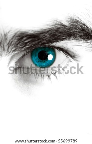 Macro shot of man's eye, high key edition - stock photo