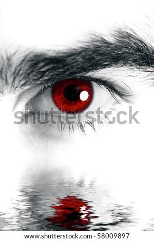 Macro shot of man's eye, high key edition - stock photo