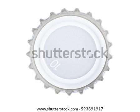 macro shot of metal cover from the glass bottles for beverages, the crown finish cap, stack focus added, isolated on white
