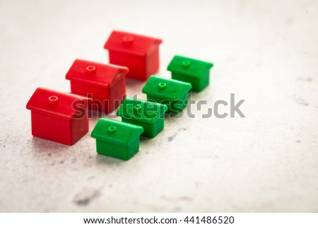 Macro shot of miniature plastic houses