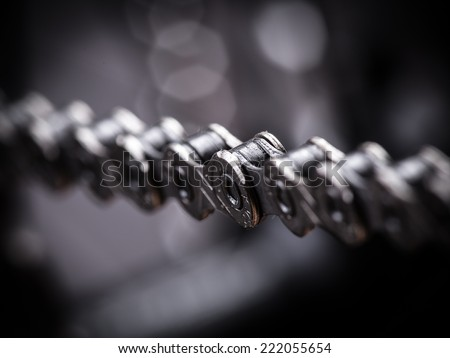 Macro shot of mountain bike chain, studio shot. - stock photo