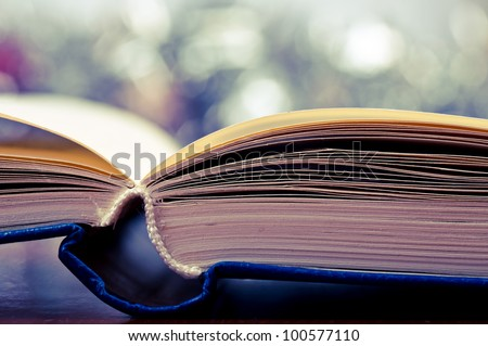 Macro shot of open book and bokeh effect in the background - stock photo