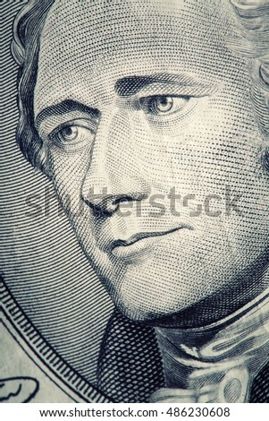 Macro shot of President Hamilton on a US $10 bill.